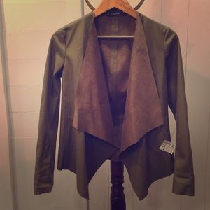 🆕✨ Zara Basics Vegan Leather Drape Jacket Olive